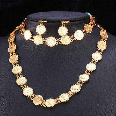 A Suit of Queen Coins Necklace Bracelet and Earrings - GOLDEN