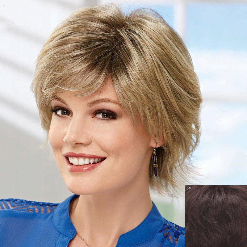 Women's Fashion Fluffy Side Bang Short Human Hair Wig - MEDIUM BROWN