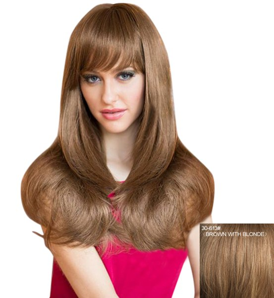 Sweet Long Layered Attractive Natural Straight Capless Human Hair Wig For Women - BROWN/BLONDE