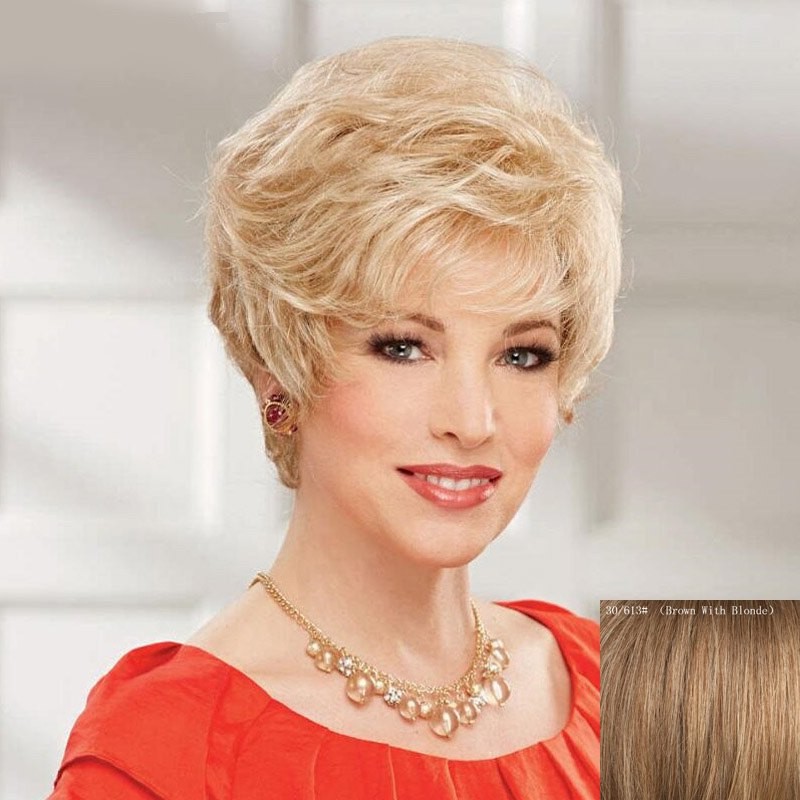 Women's Curly Fluffy Trendy Side Bang Short Human Hair Wig - BROWN/BLONDE