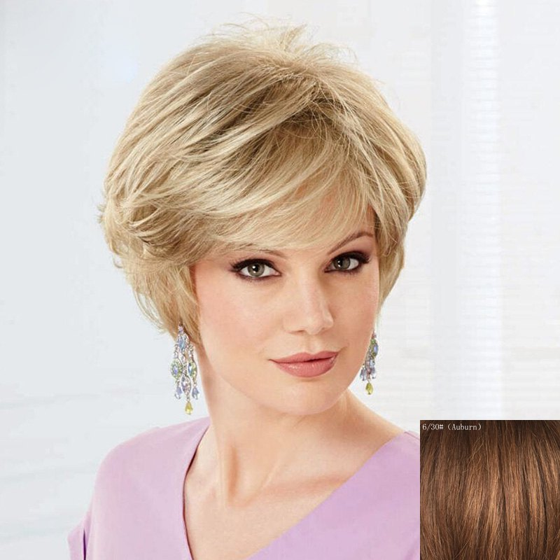Women's Fluffy Trendy Fluffy Side Bang Short Human Hair Wig - AUBURN