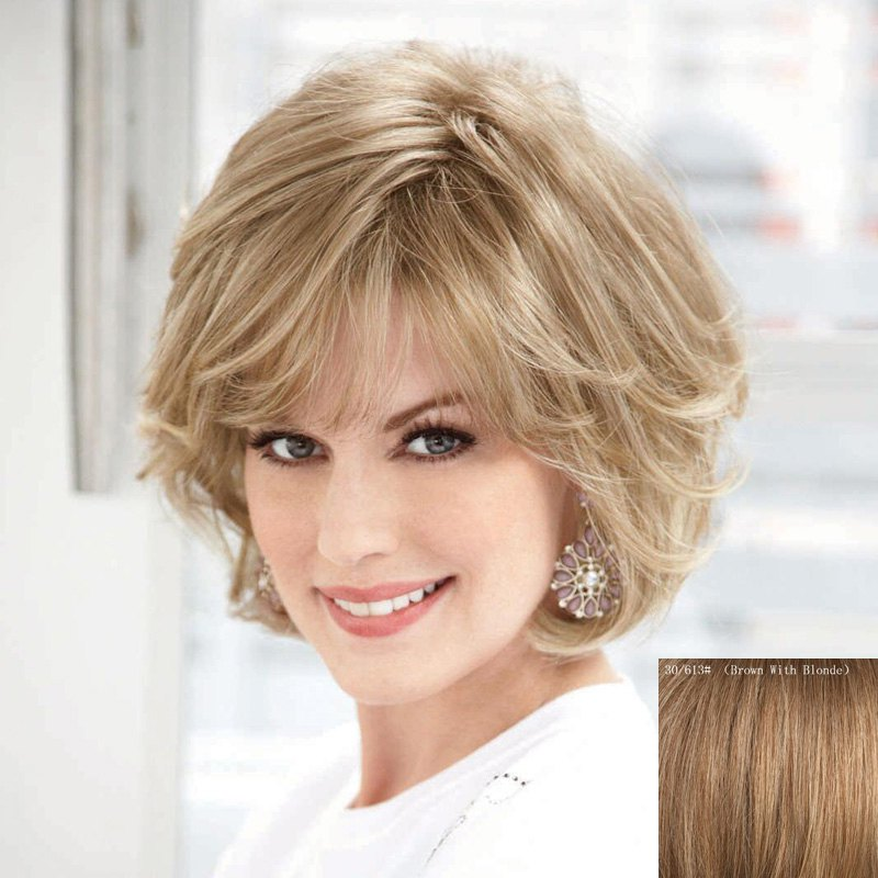 Women's Fluffy Ladylike Fluffy Side Bang Short Human Hair Wig - BROWN/BLONDE