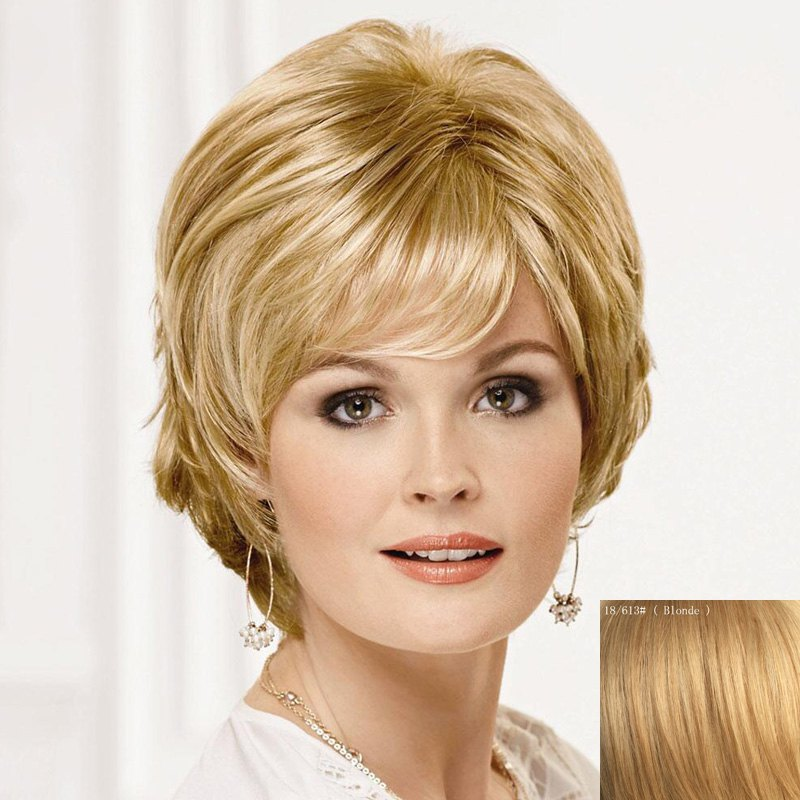 Fluffy Ladylike Fluffy Side Bang Short Human Hair Wig For Women - BLONDE