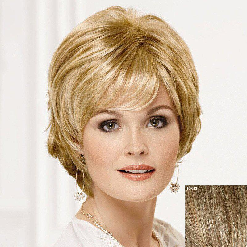 Fluffy Ladylike Fluffy Side Bang Short Human Hair Wig For Women - LIGHT CHOCOLATE