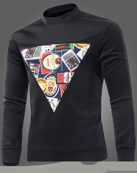 Casual Round Neck Printed Triangle Pattern Long Sleeve Men's Sweatshirt - M BLACK