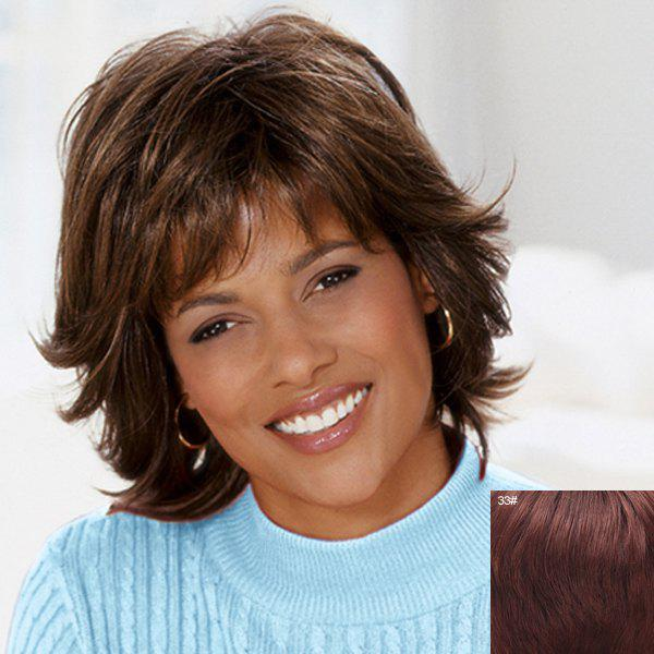 Fluffy Wavy Capless Spiffy Short Side Bang Real Natural Hair Wig For Women