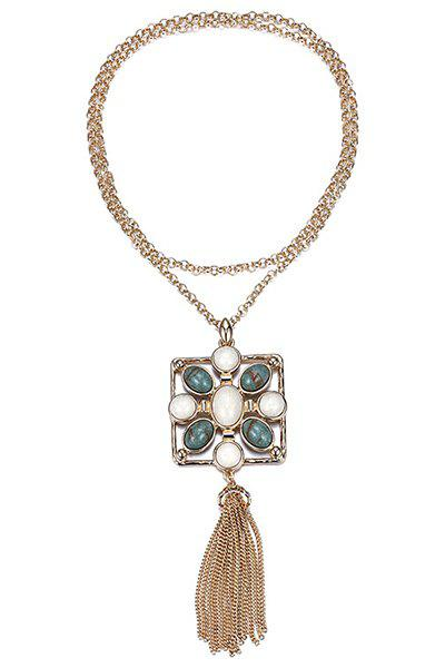 Stylish Stone Decorated Link Chain Tassel Necklace For Women - GOLDEN