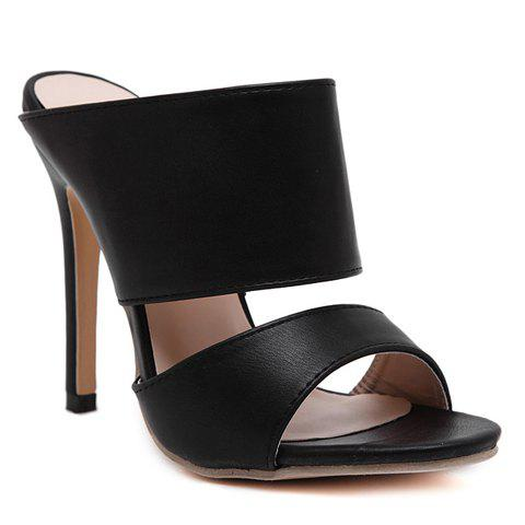 Sexy PU Leather and Super High Heel Design Sandals For Women - BLACK 40