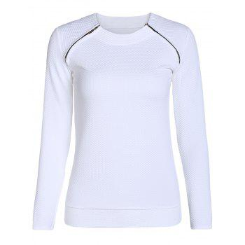 Stylish Long Sleeve Scoop Neck Zipper Design Women's Sweatshirt