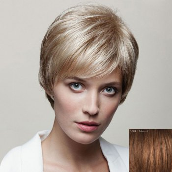 Spiffy Short Capless Fluffy Natural Straight Side Bang Women's Human Hair Wig - AUBURN AUBURN