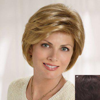 Fluffy Natural Wavy Capless Graceful Short Side Bang Human Hair Wig For Women - MEDIUM BROWN MEDIUM BROWN