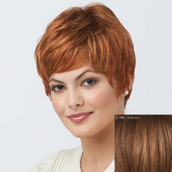 Women's Short Trendy Curly Human Hair Wig - AUBURN AUBURN
