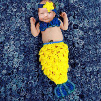 Fashion Hand Woolen Knitting Mermaid Shape Three-Piece Suit Baby Sleeping Bag Blanket