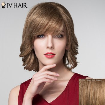 Graceful Short Inclined Bang Capless Shaggy Wave Human Hair Wig - BROWN WITH BLONDE BROWN/BLONDE