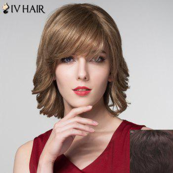 Graceful Short Inclined Bang Capless Shaggy Wave Human Hair Wig - MEDIUM BROWN MEDIUM BROWN