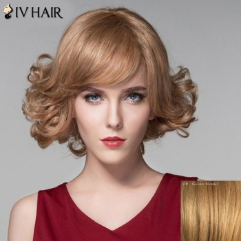 Human Hair Stylish Short Side Bang Shaggy Wavy Capless Wig - GOLDEN BLONDE GOLDEN BLONDE