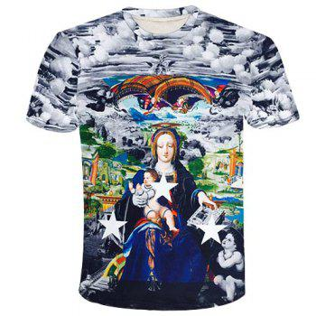 Round Neck 3D Star and Goddess Printed Short Sleeve Men's T-Shirt