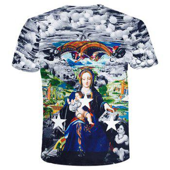 Round Neck 3D Star and Goddess Printed Short Sleeve Men's T-Shirt - COLORMIX L