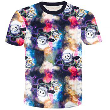 Round Neck 3D Space Panda and Cat Printed Short Sleeve Men's T-Shirt