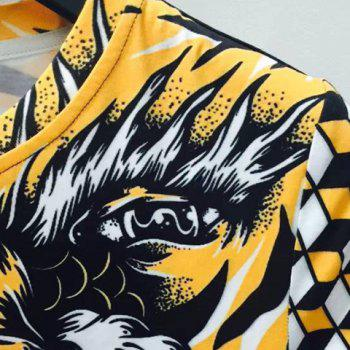 Round Neck 3D Geometric Tiger and Skull Printed Short Sleeve Men's T-Shirt - COLORMIX 2XL