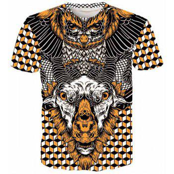 Round Neck 3D Geometric Eagle and Goat Printed Short Sleeve Men's T-Shirt