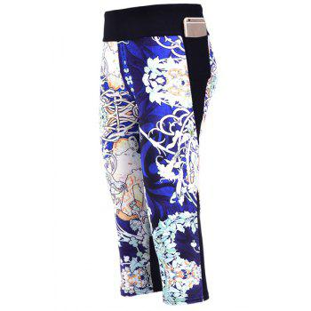 Stylish Elastic Waist Digital Floral Print Women's Capri Pants