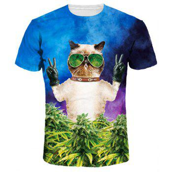 Funny Cartoon Cat Print Round Neck Short Sleeves Men's 3D T-Shirt
