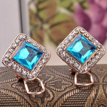Pair of Delicate Faux Crystal Square Earrings Earrings For Women