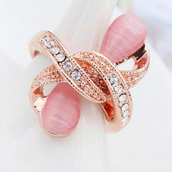 Water Drop Rhinestone Ring - PINK ONE-SIZE