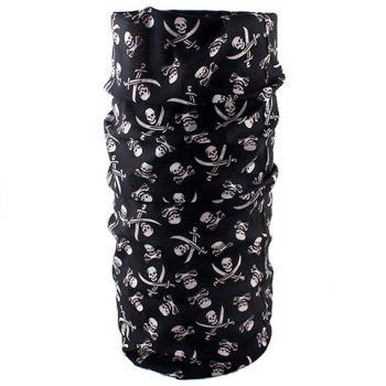 Stylish Broadsword and Skull Pattern Men's Scarf - BLACK