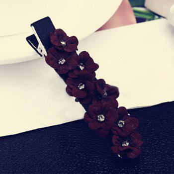 Chic Rhinestone Floral Hairpin For Women - WINE RED WINE RED