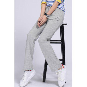 Casual Women's Drawstring Cat Print Loose-Fitting Sports Pants - LIGHT GRAY LIGHT GRAY