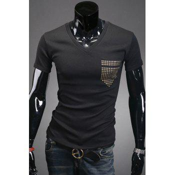 Slim Fit V-Neck Rivet Embellished Short Sleeve Men's T-Shirt