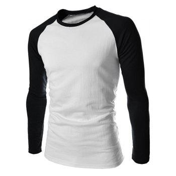 Trendy Round Neck Color Block Spliced Long Sleeve Men's T-Shirt