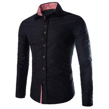 Elegant Turn-Down Collar Plaid Splicing Long Sleeve Men's Shirt