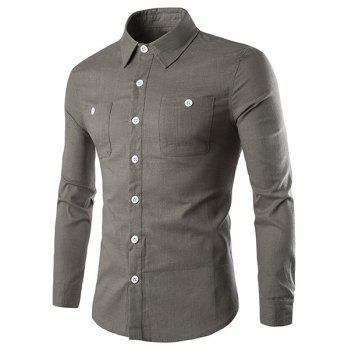 Elegant Turn-Down Collar Patch Pockets Solid Color Long Sleeve Men's Shirt