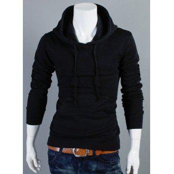 Simple Hooded Solid Color Front Pocket Long Sleeve Men's Hoodie
