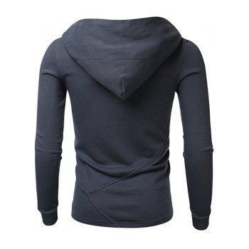 Simple Hooded Solid Color Long Sleeve Men's Hoodie - CADETBLUE XL
