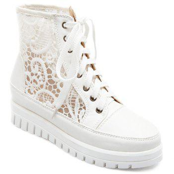 Trendy Solid Color and Embroidery Design Women's Platform Shoes
