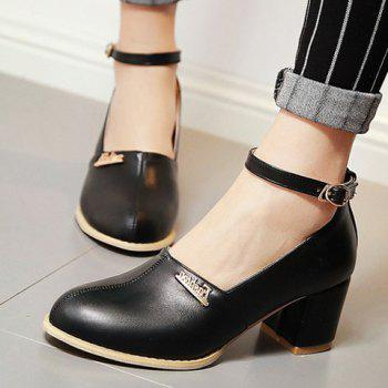 Fashionable Metal and Ankle Strap Design Women's Pumps - 34 34