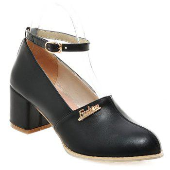 Fashionable Metal and Ankle Strap Design Women's Pumps - BLACK 34