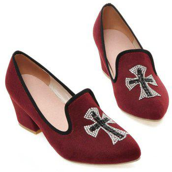 Fashionable Chunky Heel and Cross Pattern Design Women's Pumps - WINE RED 37