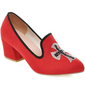 Fashionable Chunky Heel and Cross Pattern Design Women's Pumps - RED 36