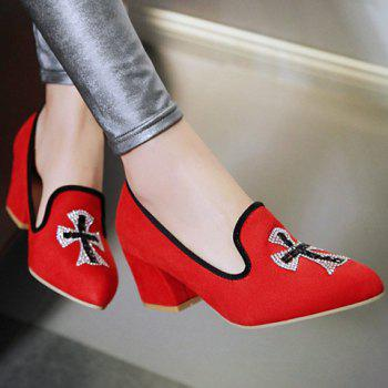 Fashionable Chunky Heel and Cross Pattern Design Women's Pumps - 36 36
