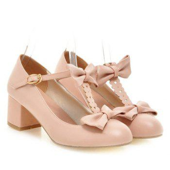 Fresh Style Chunky Heel and PU Leather Design Pumps For Women - 37 37