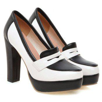 Simple Color Block and PU Leather Design Pumps For Women - 34 34
