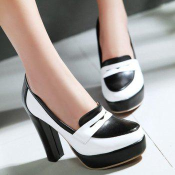 Simple Color Block and PU Leather Design Pumps For Women - 39 39
