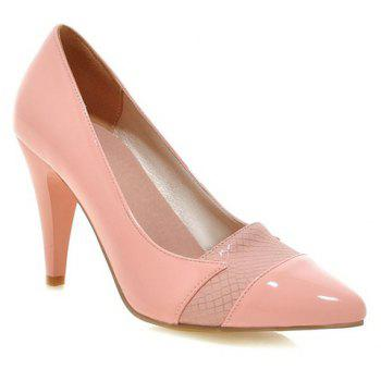 Ladylike Patent Leather and Pointed Toe Design Pumps For Women - PINK 35