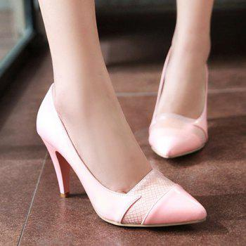 Ladylike Patent Leather and Pointed Toe Design Pumps For Women - 35 35