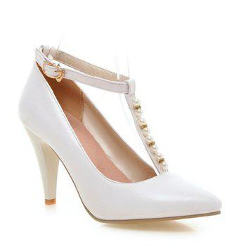 Graceful Beading and T-Strap Design Pumps For Women - WHITE 38